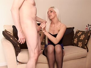 Hot blonde amazes with her smooth handjob gifts