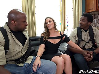 Two black guys prosperity white babe with succulent pest and Bristols Febby Twigs