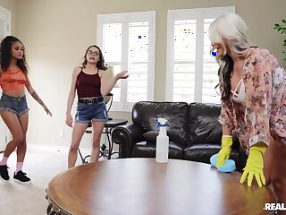 Naked beauties ration their lesbian hankering in a kinky abode thing