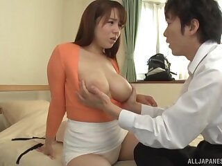 Japan hottie with big natural tits, addictive sex with a co-worker