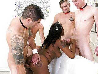 Seductive ebony gags a lot and gets intimate in anal gang bang