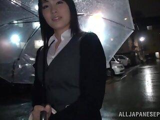 Blindfolded Japanese cutie Satomi Nomiya gets pleasured relative to the van