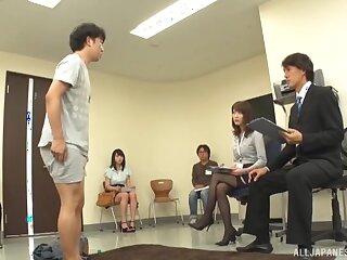 Amateur man strokes his dick while a kinky Japanese babe masturbates