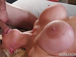Full-grown pornstar with huge monster tits - Alura Jenson in amateur hardcore with cumshot