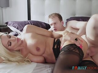 Sizzling blnde COUGAR is enervating softcore, dark-hued stocking while having fuck-a-thon with her spouse's mate