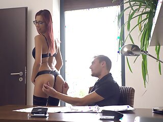 Tall redhead shows off on tap the office for at most sex