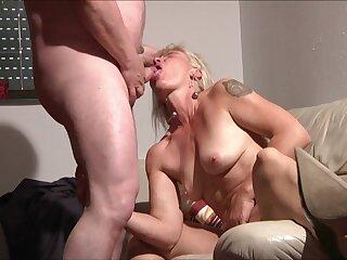 Blonde Mature in homemade hardcore back cum in mouth